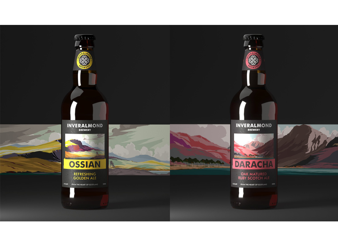 The following illustrations were commissioned for a packaging re-launch for the Inveralmond Brewery by the agency Freytag Anderson.