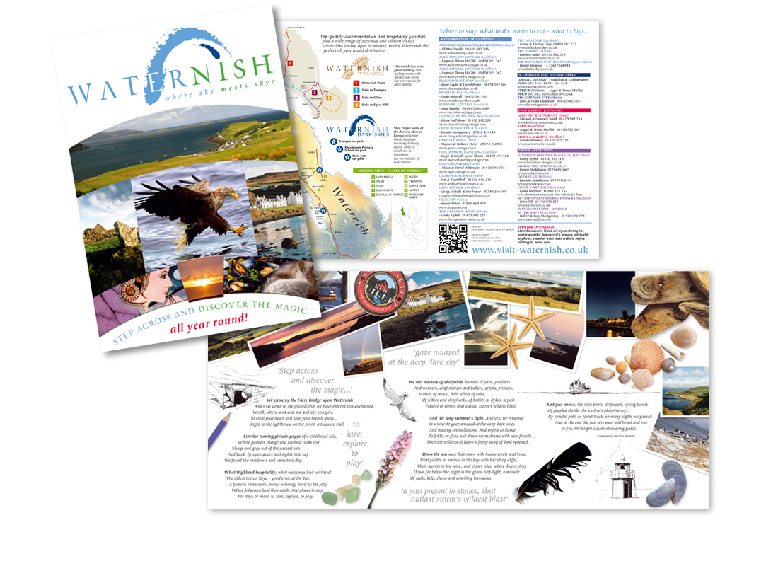 An A5 6 page communication leaflet for the destination tourism group Visit Waternish.