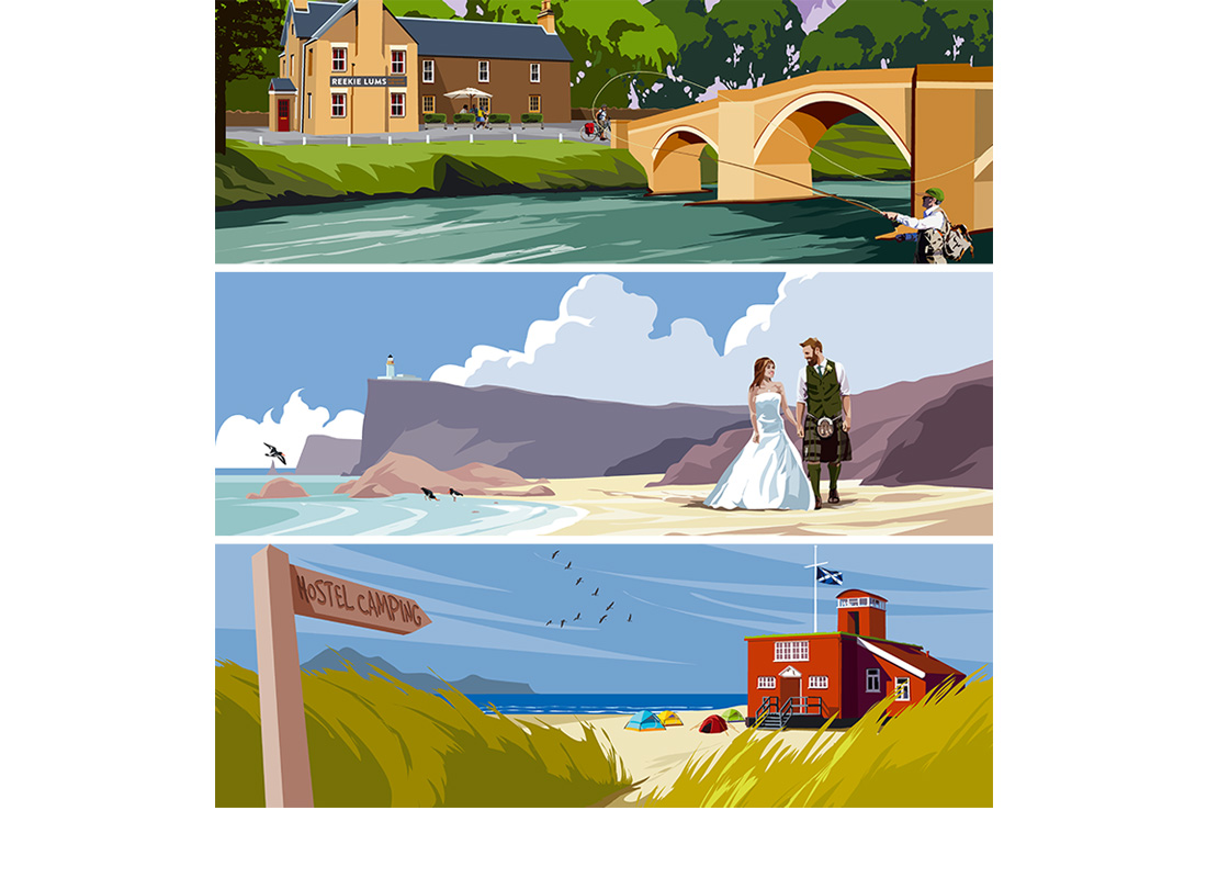 A Visit Scotland commission to produce over 20 illustrations showing the variety of accommodation available throughout Scotland.