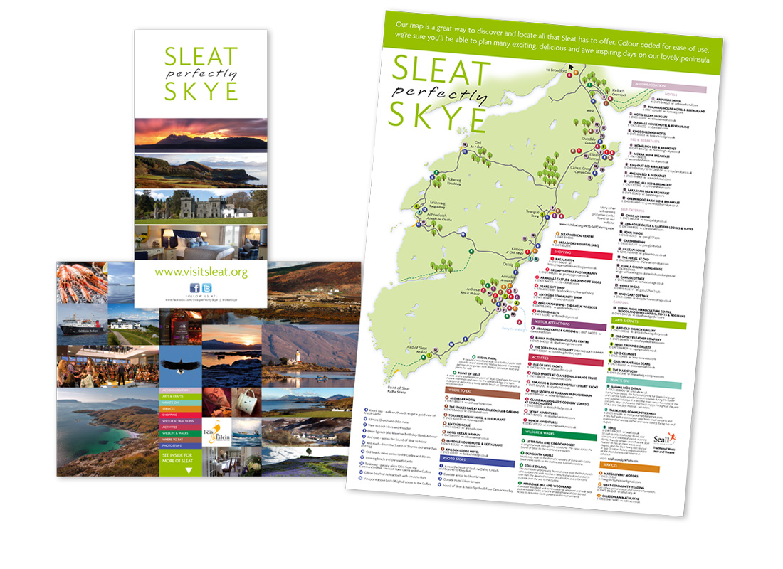An A5 folding to A3 communication leaflet and logo design for Visit Sleat.