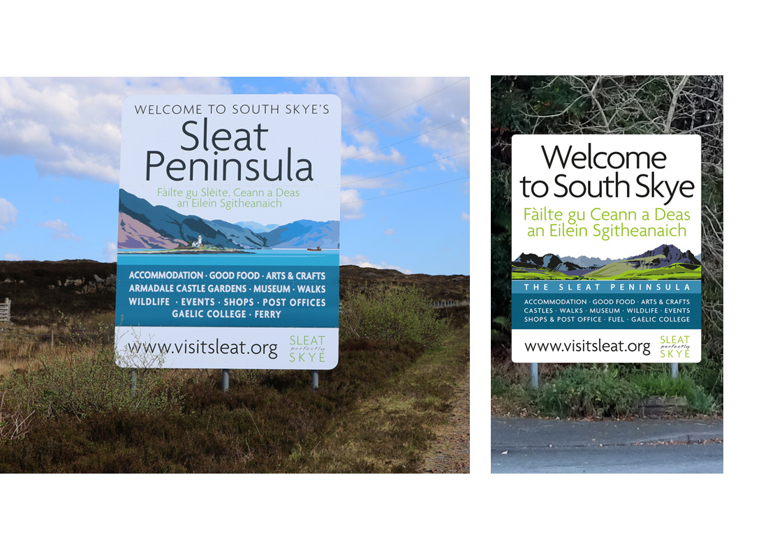 Two large welcome signs for the Sleat peninsula designed and illustrated by mcdcreative.