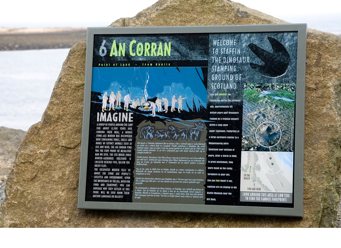 Ceumannan – Staffin Ecomuseum is a museum without walls! Set in the landscape are 13 sites with interpretive boards designed and illustrated by myself.
