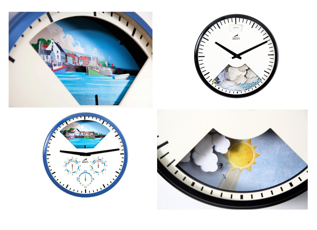 Bramwell Brown the creators of mechanimated clocks commissioned me to illustrate their much acclaimed animated Tidal barometer and Weather clock.