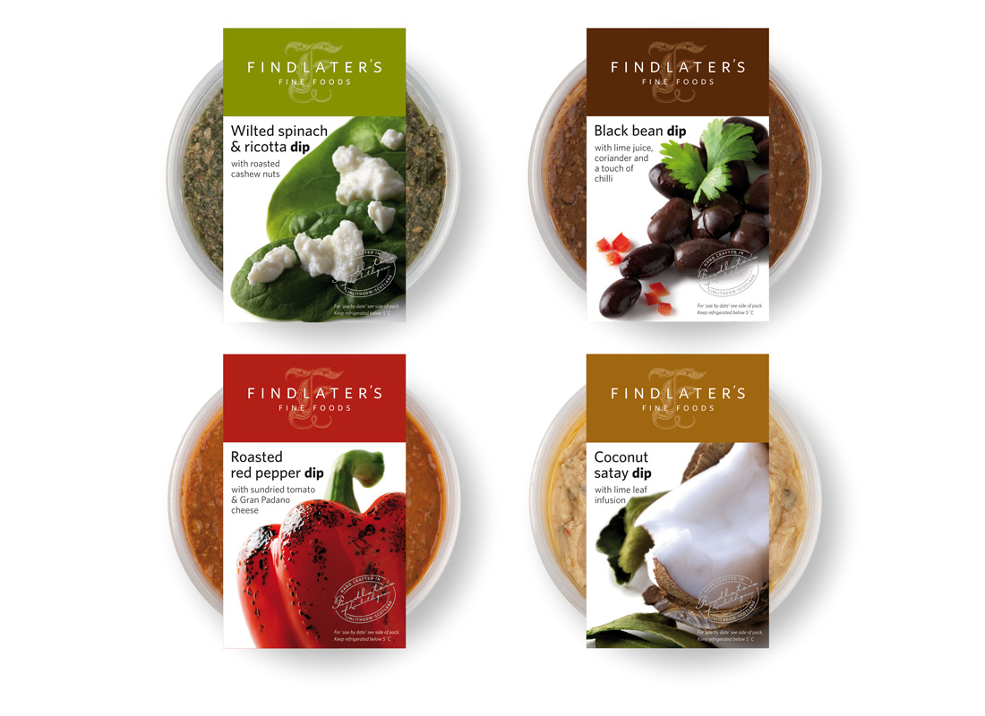 Findlater's Fine Foods asked me to design the packaging for their new range of dips, using strong product photography (taken by myself) the packs make a striking addition to their range.